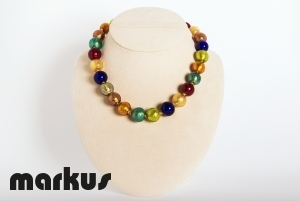 Multicolor glass necklace ,round beads with gold leaf