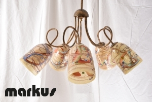 Chandelier bronze color with 5 glass shades pointing downwards