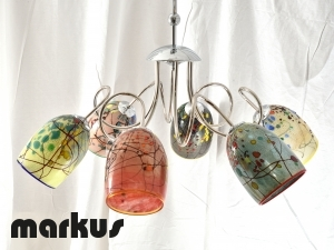 Metal chandelier cromed with 6 glass shades pointing downwards