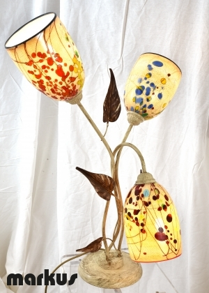 Table lamp with 3 Murano glass lamp shades