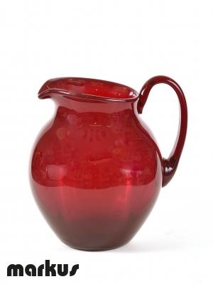 Murano glass Jug red color