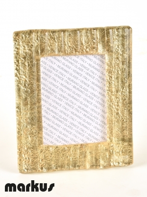 MURANO GLASS PICTURE FRAME WITH GOLD LEAF MEDIUM SIZE