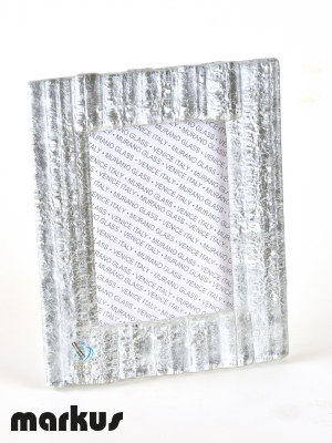 MURANO GLASS PICTURE FRAME WITH WHITE GOLD LEAF MEDIUM SIZE