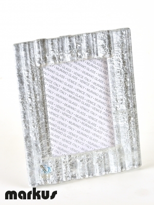 MURANO GLASS PICTURE FRAME WITH WHITE GOLD LEAF BIG SIZE