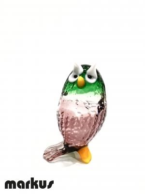 Green & Amethyst Glass Owl