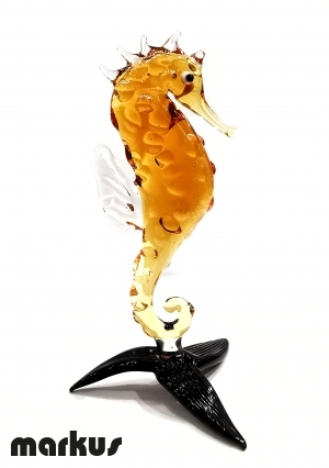 Glass Sea Horse Amber Color