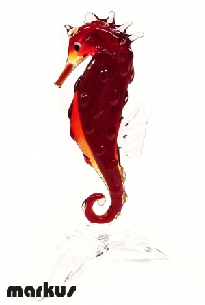 Glass Sea Horse Red color
