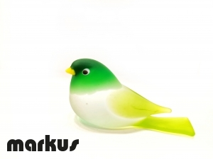 FROSTED LIME & GREEN GLASS BIRD
