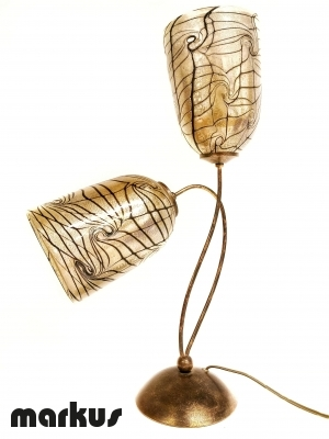 Bronze table lamp with 2 Murano glass lamp shades_1