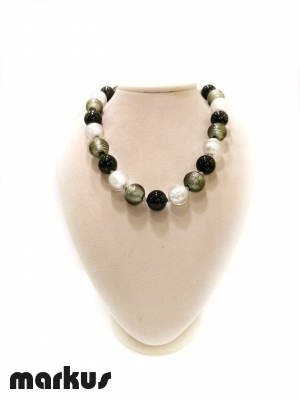 Glass necklace with round beads white  gold black and grey
