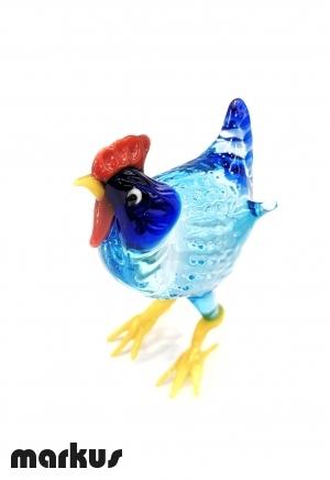 Glass Hen - Light blue color