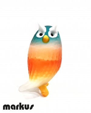 Frosted Owl Orange and Green Water Color