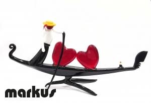 Murano glass Gondola with 2 hearts