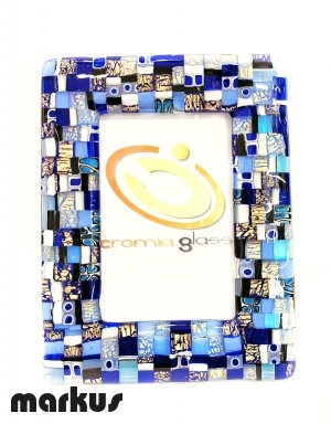 24 k Gold picture frame with blue mosaic medium size