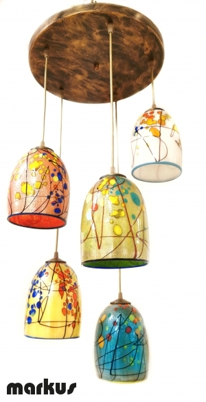 Ceiling lamp with 5 glass lamp shades