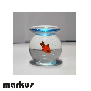 Glass bowl with red fish medium size