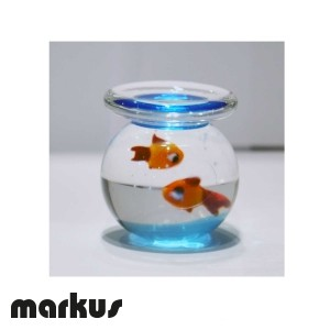 Glass bowl with 2 red fishes big size