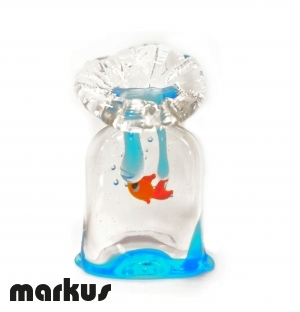 Glass bag with red fish medium size.