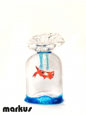 Glass bag with 2 red fishes big size
