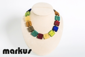 Multicolor frosted glass necklace, square beads with gold leaf