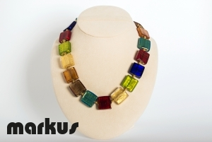 Multicolor glass necklace with gold leaf, square beads