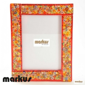 Red glass picture frame medium large size