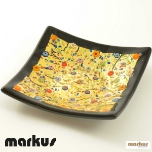 Glass plate black and gold square big size