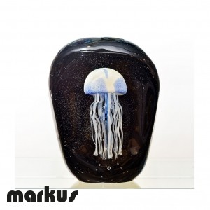 Glass jelly fish light blu color