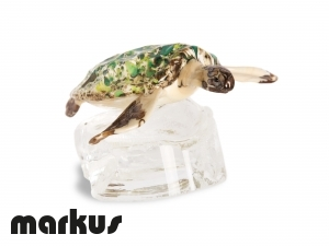 Glass turtle on a rock