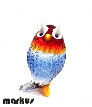 RED & BLUE GLASS OWL