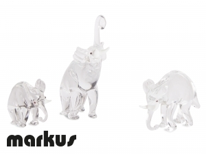 FAMILY OF GLASS ELEPHANTS CRYSTAL COLOR