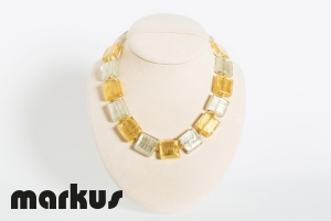 Glass necklace with square beads, white & yellow gold leaf